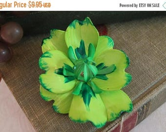 """SALE Vintage Lime Green and Yellow 3"""" Flower Brooch - Enameled Metal"""