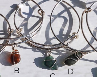 Adjustable Bangle, Bangle, Sterling Silver Bangle, Sea Glass Bangle, Sea Glass Bracelet, Sterling Silver Bracelet, Silver Bracelet,