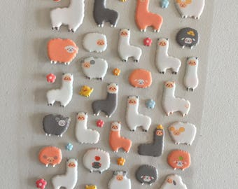 Alpaca Sheep Puffy Stickers, Llama Stickers, Animal Deco Stickers, Scrapbook Stickers, Planner Stickers, Craft Stickers, Sheep Lover Gift