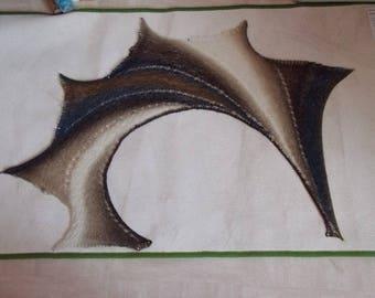 White beige brown color gradient wingspan shawl