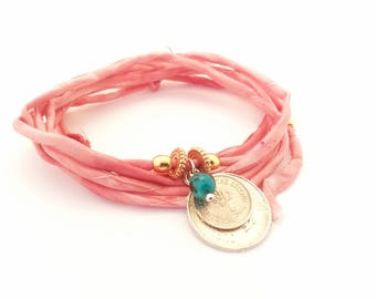 Silk pink wrapping bracelet