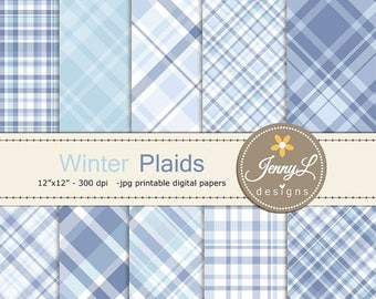 50% OFF Winter Plaids Digital Papers, Snow Holiday Digital ScrapbookingPaper, Light blue, periwinkle