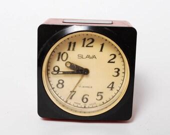 Vintage alarm clock Slava, plastic case, made in USSR