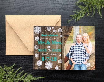 Wood and Snow Save the date • Best Wishes from the Soon to Be Mr. & Mrs. Save the Date • Holiday Save the Date • Christmas Save the Date