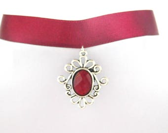 Gothic Blood Red Flower Cabochon Burgundy Red Choker Necklace