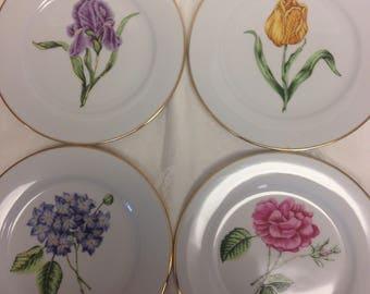 Muirfield Golden Leaf Floral Salad Plates - Set if 4