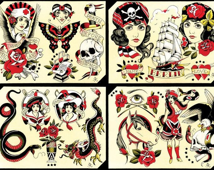 Tattoo Flash Set 27 by Brian Kelly. 4 sheets.