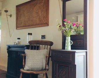 Vintage Black Painted Hall Stand Hall Table Cupboard with Mirror