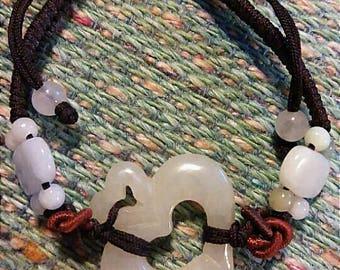 Vintage White Pure Jade Heart Bracelet