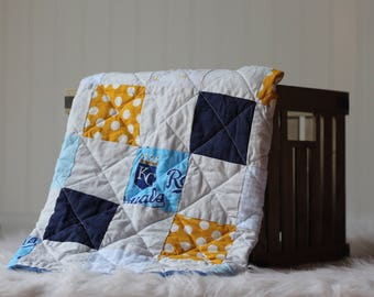 KC Kansas City Royals Inspired Photography Prop Baby Quilt Newborn Baseball Mini Blanket Basket Stuffer Photo Prop