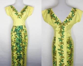 1950s Hawaiian Togs dress, 1950s hawaiian dress, vintage hawaiian dress, 1950s maxi dress, Hibiscus Print Wiggle Fishtail Gown, 1950s