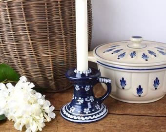 Rustic blue vintage candlestick, blue glazed ceramic
