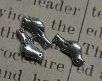 3 Silver 14x6mm metal bird beads