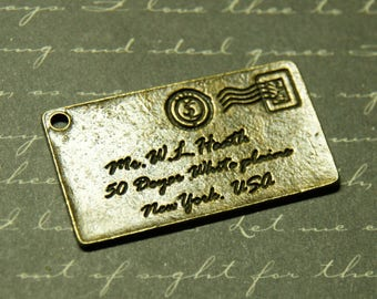 Great postcard charm bronze 40x24mm