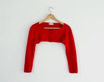 90s Ultra Cropped Bebe Cardigan / Soft Red Button Down Sweater/ Long Sleeve / XSmall-Medium