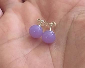 Earrings - Handmade Fused Glass Stud Earrings, Purple Glass and Sterling Silver Stud Earrings