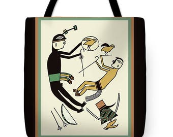 Southwest Petroglyph Shaman Tote Bag Design - Southwest Tribal Design SilkyPoly Throw Pillow - Laptop Bag - ReUsable Shopping Grocery  Bag