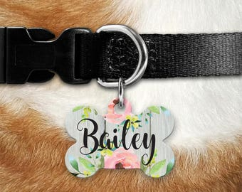 Pet ID Tag Dog Tags for Dogs Dog Tag for Collar Dog ID Tags Personalized Pet Gifts Pet Tag Pet Tags Pet id Tags for Dog Tag ID Floral