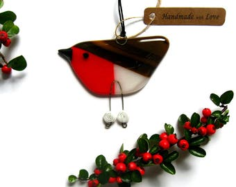 Christmas Robin, red fused glass bird hanging decoration winter.Stocking filler Christmas red, friend gift,BD131 suncatcher Free UK shipping