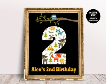 Woodland Birthday Decor Printable, Personalized Woodland Sign, Woodland Birthday Printable Kid Woodland DIY Party Forest Animals Theme Party