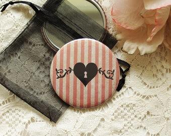"Pocket Mirror - retro mirror - illustrated mirror -silhouette - Love - ""Heart"""