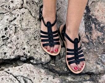 Black  Genuine Greek Leather Ancient Sandal -Antiope