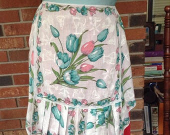 Vintage Blue and White Hankie Half Apron Featuring Pretty Spring Tulips