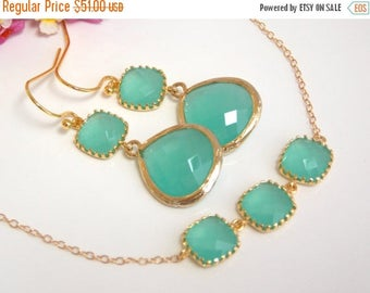 SALE Wedding Jewelry, Blue Mint Earrings and Bracelet,Seafoam, Gold Filled, Bridesmaid Gifts, Bridesmaid Jewelry, Dangle, Bracelet Set, Gift