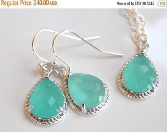 SALE Bridesmaid Jewelry Set, Mint Earrings and Necklace Set, Aqua blue, Mint blue, Sterling Silver, Wedding Jewelry, Dangle, Bridesmaid Gift