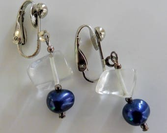 Clip-On earrings-blue earrings-gemstone earrings-semi precious earrings-handcrafted-one off-pearls-crystal-clear earrings