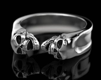 Bad ass Gemini skull band, Skull Ring opened jaw, bikers ring, Gothic ring, steam punk