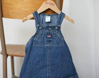 greyboy's vintage old navy denim dress overalls - size 6-12 months