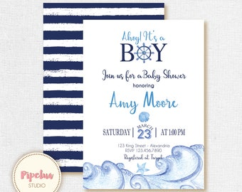 Nautical Baby Shower invitation. Navy Babyshower invite. Ahoy It's a Boy invitation. Navy Printable invitation.
