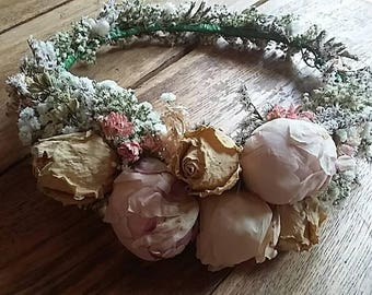 Beautiful Bespoke Handmade Floral Crown with peony, rose,  Flower Garland, Wedding Hair Piece, Bride, Bridesmaid, Flowergirl, Halo, Circlet