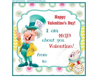 INSTANT DOWNLOAD-Happy Valentine's Tags- D.I.Y Tags-Alice in Wonderland -Mad Hatter-Love Tags -Digital file