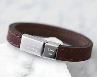 Men's brown stitched leather bracelet/ Custom mens leather bracelet/ Mens leather bracelet engraved/ Mens personalised gift/ Gifts for men