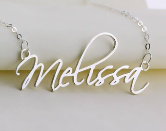 Silver  Name Necklace,Cursive Name Necklace,Personalized Name Pendant,Bridesmaid Gift,Custom Necklace,Name Jewelry,Christmas Gift