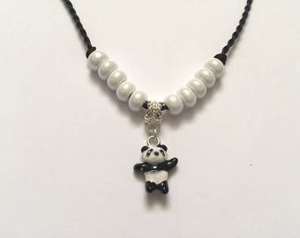 Kids, black and white necklace with charm panda ref 779