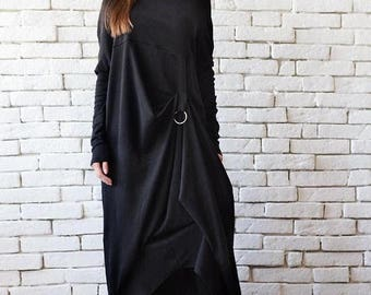 SALE NEW Extravagant Black Long Sleeve Dress/Plus Size Maxi Dress/Black Maxi Dress/Front Effect Long Tunic/Oversize Casual Top/Loose Black T