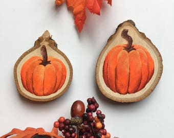 Pumpkin Magnet, Wood Slice Magnet, Pumpkin Painting, Hand Painted Magnet, Fall Decor, Pumpkin Wood Slice, Nature Art, Wood Slice Art, Wood