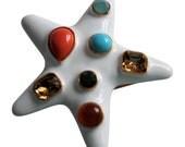 Kenneth Lane Jackie Starfish Brooch/Pin White Enamel Book Piece Statement Jewelry Designer Signed Beach Jewelry  Seashore Coastal Decor
