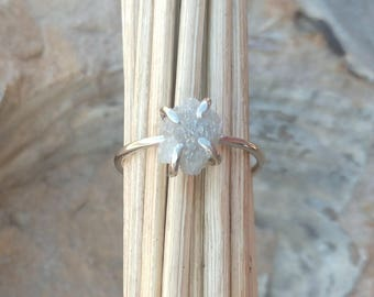 Grey Diamond Engagement Ring Raw Rough 1ct 2ct 3ct Diamond Ring 14k White Rose Yellow Gold Promise Ring Anniversary Ring Uncut Diamond Ring