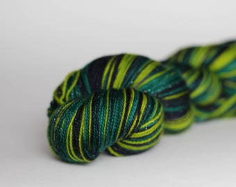 """Ready to Ship! Spark Sock: """"Campus Visit (darker)"""" - Navy, Chartreuse, Sage Green stripes"""