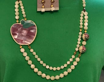 Vintage Lucite Mother of Pearl Mosaic Inlaid Apple Necklace & Earrings. Chunky MOP Statement. Karla Jordan Style. Jewelry to Repurpose