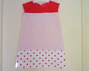 Kids red and white polka dot dress, size 3 years
