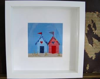 Beach hut fabric embroidered picture