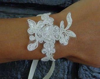 light ivory lace bracelet wedding