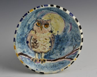 Owl Ceramic Dish, Clay Bowl by Arizona Artist, Karlene Voepel