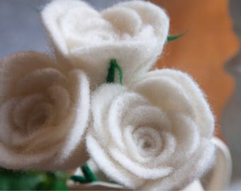 Needle Felt White Rose.