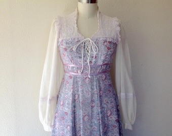 1970s Gray Gunne Sax maxi dress